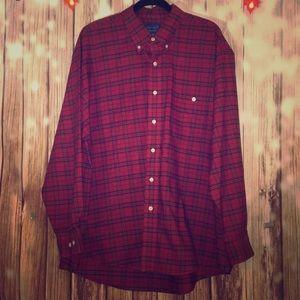 Men's Dark Red Plaid Button Down Shirt